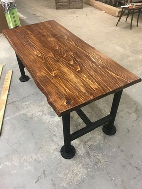 Custom Made Rustic Plank Plumber's Pipe Table