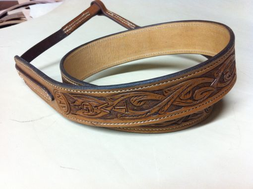 Custom Made Banjo Strap Double And Stitched Leather Hand Carved