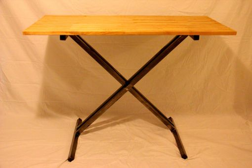 Custom Made Wood And Steel Height Adjustable Desk