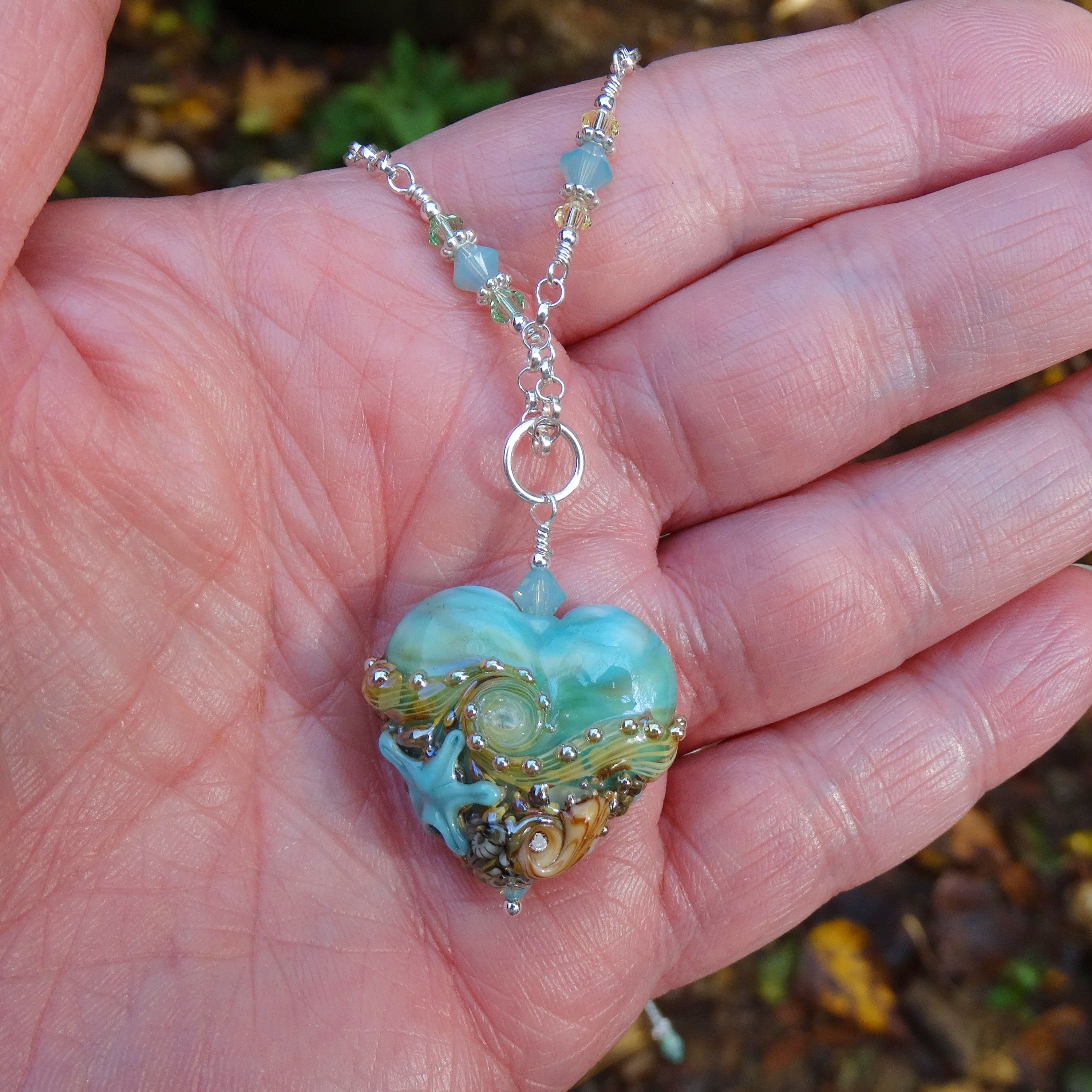 2f2fd8be3 Custom Made Turquoise & Green Lampwork Beachy Heart Pendant Necklace With Swarovski  Crystal Wire Wrap Chain