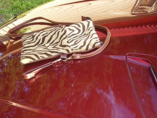 Custom Made Celah Brown Cowhide And Tiger Print Wrist Purse And Strap