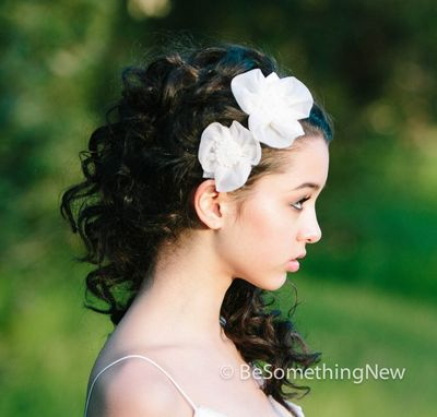 Custom Made Silk Organza Flower Wedding Hair Clips