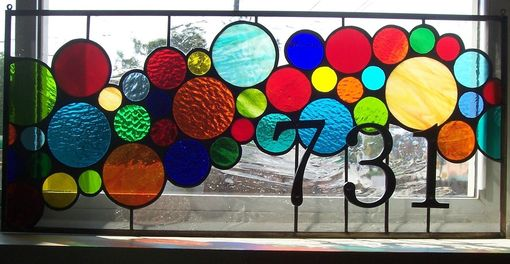 Custom Made Stained Glass Window Panel / Bright And Bubbly Transom  (Am-43)