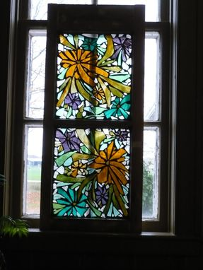 Custom Made Golden Flowers Stained Glass