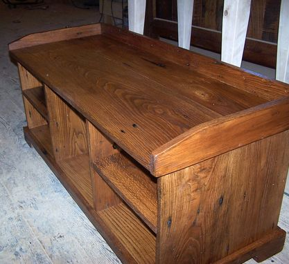 Custom Made Vintage Reclaimed Storage Wood Bench