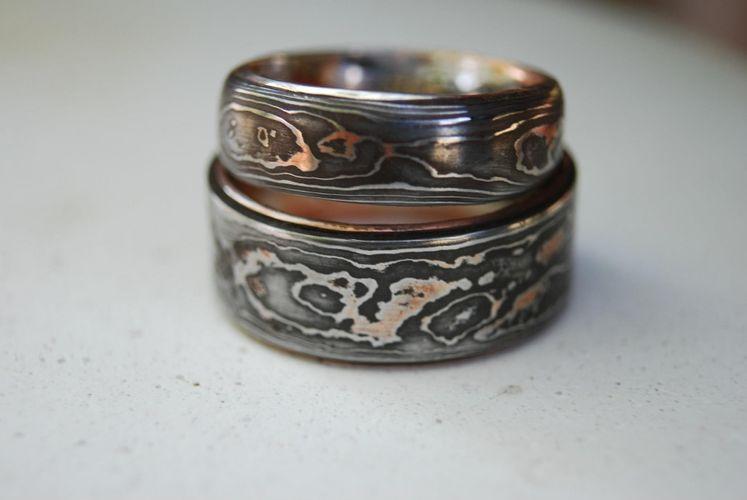 hand made pattern welded damascus woodgrain wedding band by organic iron concepts custommadecom - Damascus Wedding Ring