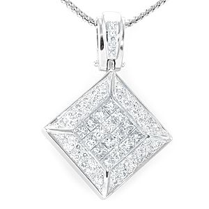 Custom Made Princess Cut And Round Diamond Pendant