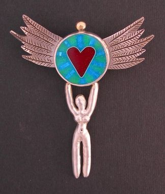 Custom Made Goddess- Heart Pendant Pin Necklace