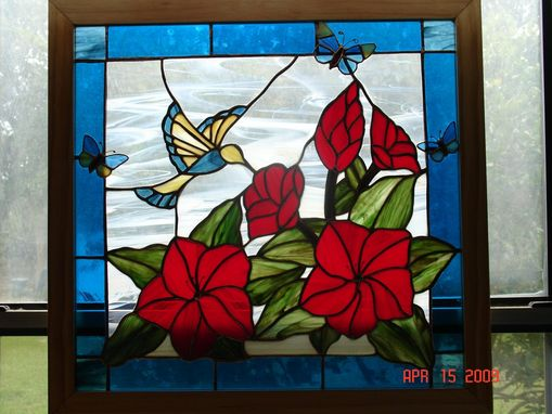 Custom Made Bird & Hibiscus Stained Glass Panel
