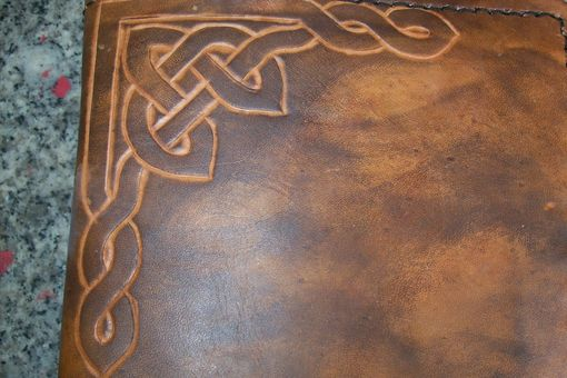 Custom Made Custom Leather Address Book With Celtic Corner