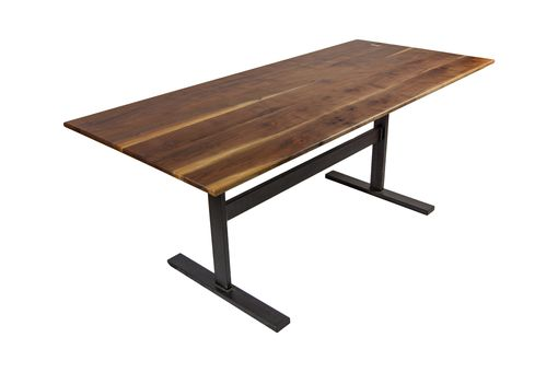Custom Made Handmade Walnut And Steel Trestle Dining Table (Salvaged From F5 Tornado)