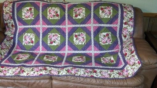 "Custom Made Rose ""Garden Beauty"" Quilt In Pinks, Purples And Greens"