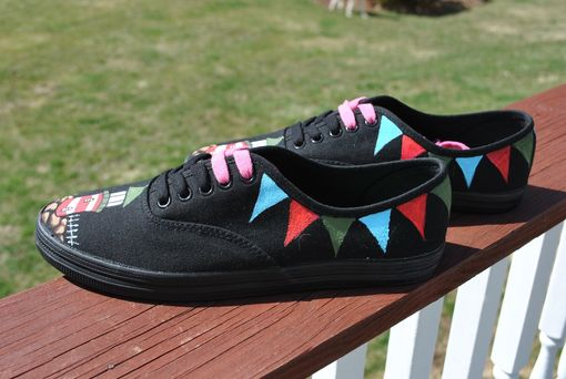 Custom Made Lighthouse Hand Painted Sneakers Size 7.5 - Sold