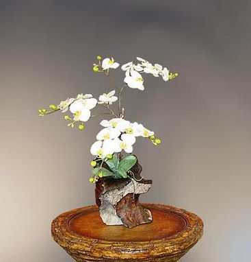 Custom Made Orchid In Redwood Vase