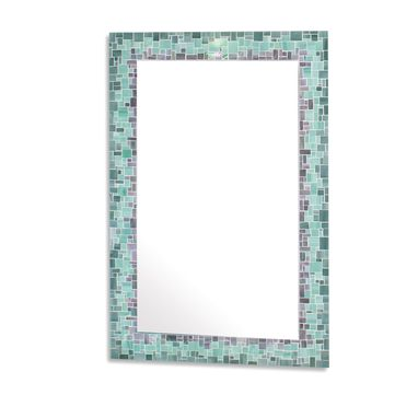 Custom Made Sunburst Decorative Mosaic Wall Mirror In Iridescent Gray, Sea Green, And Blue Stained Glass