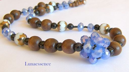 Custom Made Periwinkle Crystal Woven Cluster Wood Beaded Matinee Length Necklace