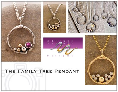 Custom Made Family Tree Pendant ,4 People With Diamonds