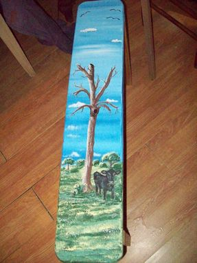 Custom Made Wood Bench Painted With Cow Under Tree