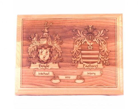 Custom Made Wedding Plaque 9 X 7 Laser Engraved Coat Of Arms