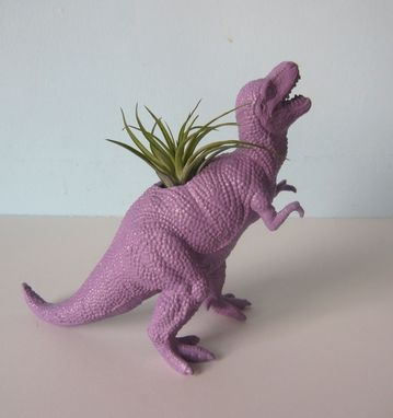Custom Made Upcycled Dinosaur Planter - Purple Tyrannosaurus Rex With Air Plant