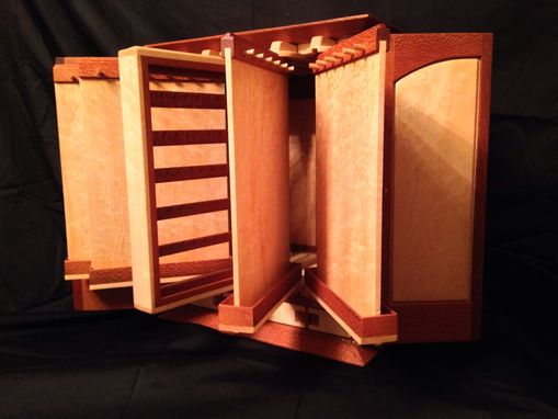 Custom Made Birdseye Maple And Leopard Wood Jewelry Box For Necklaces