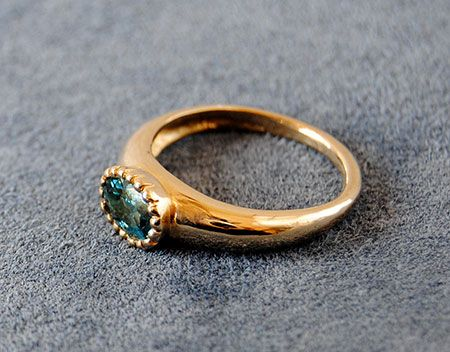 Custom Made 14k Gold Ring With Blue Tourmaline