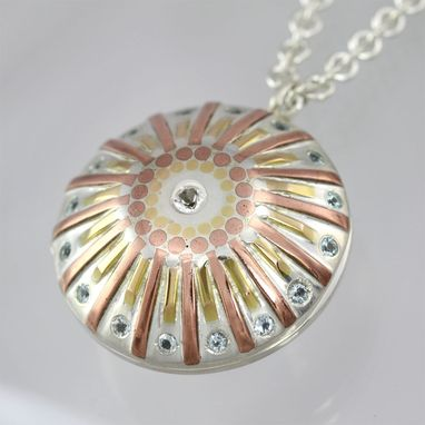 Custom Made Sunburst Locket With Stone, Large (White Topaz & Sky Blue Topaz)