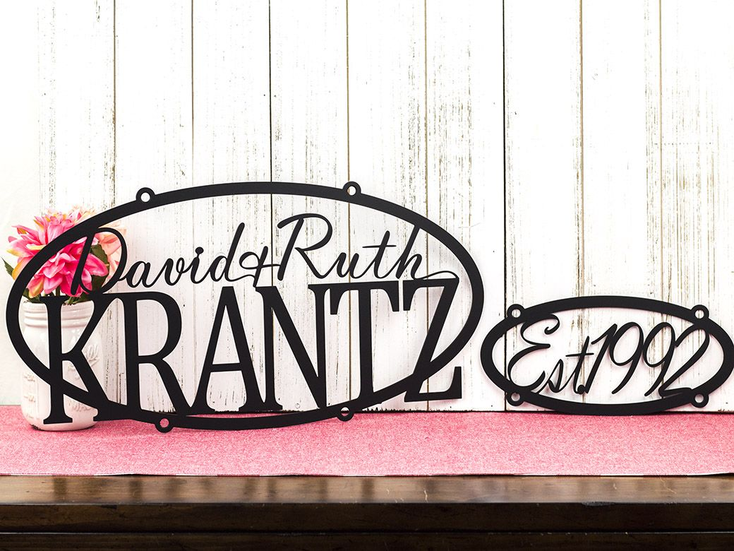 personalized established sign custom signs metal names outdoor custommade gift last decor order hanging wall inc handmade hand crafted