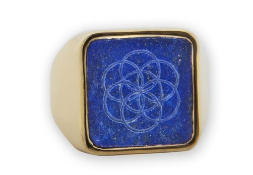 Custom Made Lapis Square Ring Engraved Intaglio For Sealing