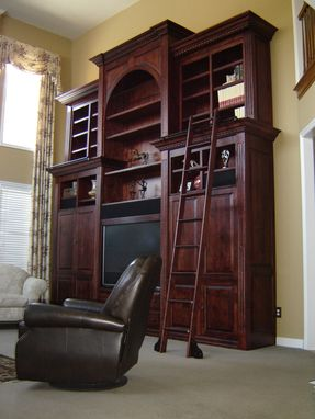 Custom Made 15 Foot Tall Maple Wall Unit Wuth Rolling Ladder