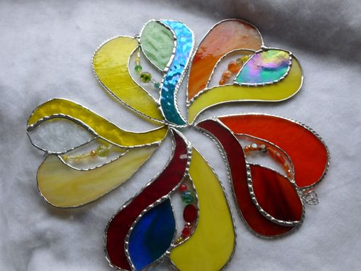Custom Made Colorful And Iridescent Stained Glass Heart With Beads And Crystals