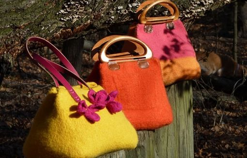 Custom Made Pink And Marigold Yellow Color-Block Felted Bag With Wood Handles