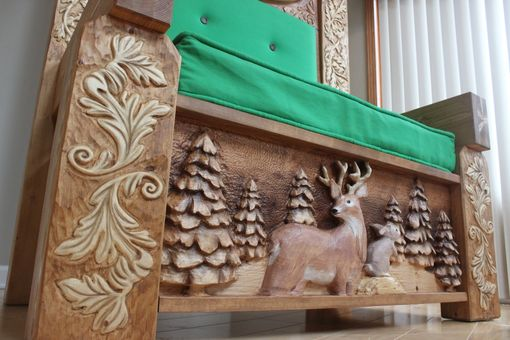 Hand Crafted Custom Carved Santa Chair Custom Wood Santa