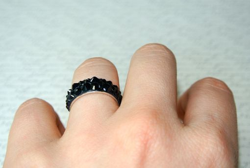 Custom Made Jet Black Crystal Ring In Sterling Silver | Made With Swarovski® Elements