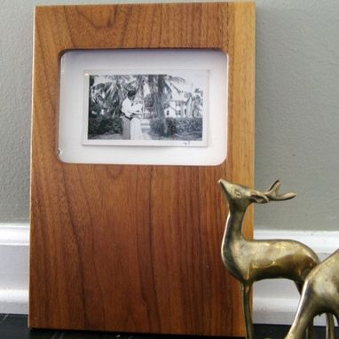 Custom Made Mid Century Modern Wood Picture Frame Solid Walnut 8x10