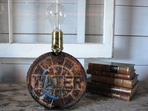 Custom Made Industrial Table Lamp From Water Meter Cover
