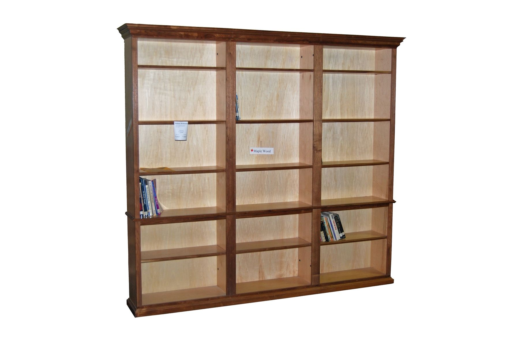 Custom Made Walnut And Maple Bookcase Unit