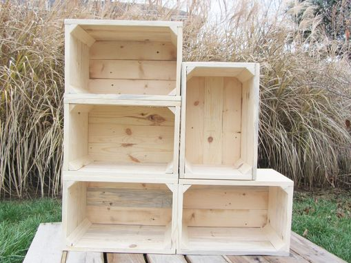 Custom Made Small Wood Crate Stackable Made From Reclaimed Wood Pallets Set Of 5 Crate Set
