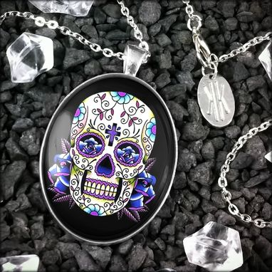 Custom Made Large Blue Day Of The Dead Sterling Silver Pendant Necklace 56-Slopn