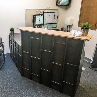 Custom Made Custom Oak And Masonry Grid Reception Desk