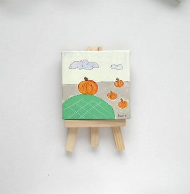 Custom Made Mini Canvas Pumpkin Painting, Miniature Painting
