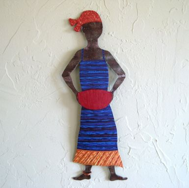 Custom Made Handmade Upcycled Metal African Lady In Blue Wall Art Sculpture