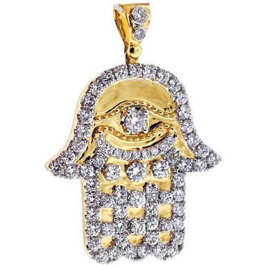 Custom Made Mens Diamond Hamsa Hand Pendant 14k Yellow Gold 4.95 Ct