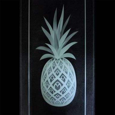 Custom Made Pineapple Etched Glass Kitchen Cabinet Carved Doors