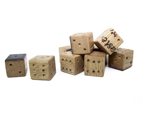 Custom Made Collector's Fun - Pair Of Dice - Wine Barrel Oak Wooden 6 Sided Dice