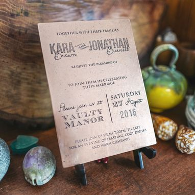 Custom Made Traditional Copper Wedding Invitation / Marriage Certificate - Seven Year Anniversary Keepsake