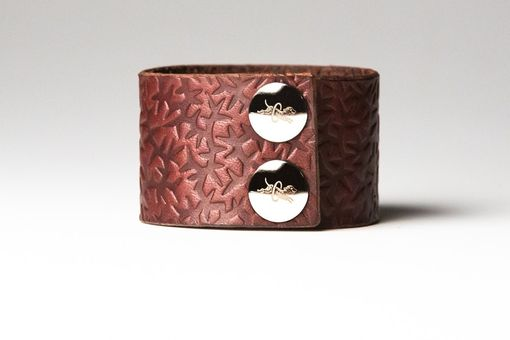 Custom Made Chestnut Brown Leather Cuff - Embossed With Thorns - Nickel Fasteners - 1.5 Inches Wide