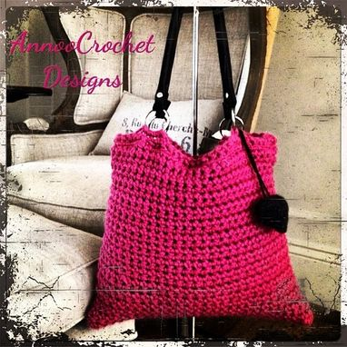 Custom Made Fushia Crochet Handbag