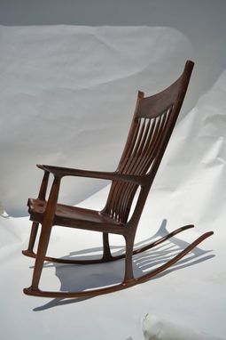 Custom Made Black Walnut Maloof-Style Rocking Chair