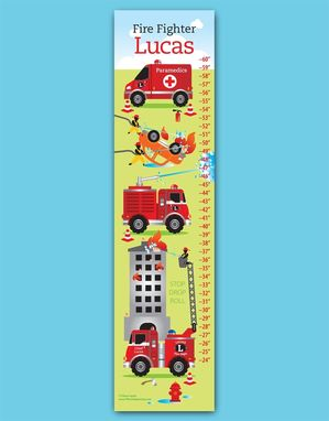 Custom Made Fire Truck Growth Chart For Kids